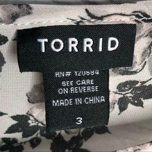torrid Tops - TORRID flowy black/white/pink floral hi-lo top